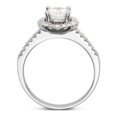 White Gold Halo Engagement Ring Profile View