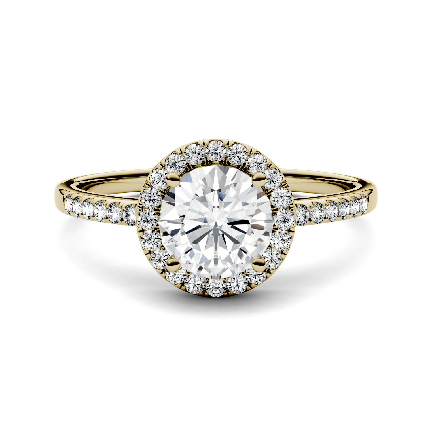 Charles & Colvard Moissanite Halo Engagement Ring in Yellow Gold-612261 - Jewelry by Johan