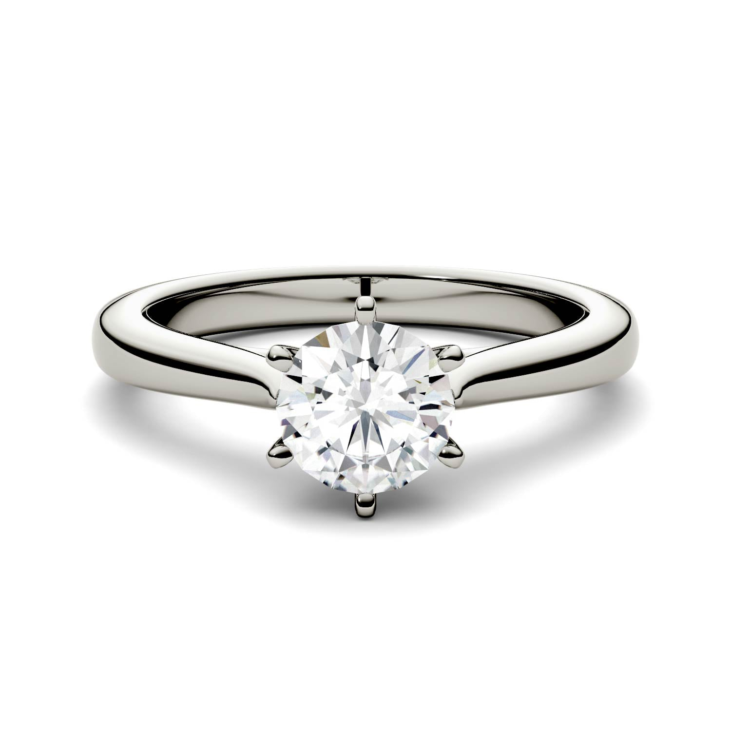 6.5mm Charles & Colvard Round Moissanite Solitaire Engagement Ring - Jewelry by Johan