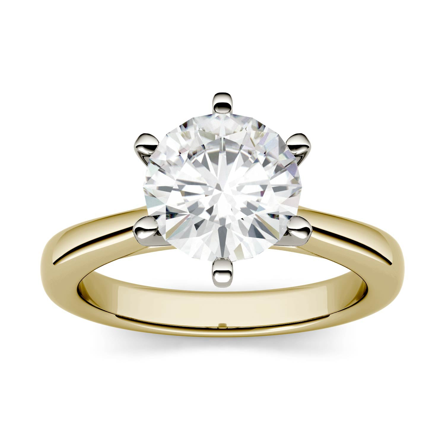Charles & Colvard Moissanite Solitaire Engagement Ring in Two-tone Gold-612273 - Jewelry by Johan