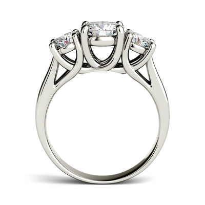 Three Stone Moissanite Engagement Ring in White Gold