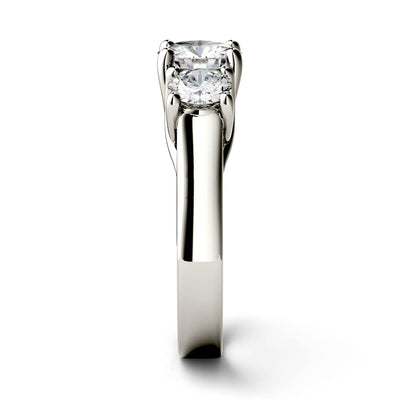 Three Stone Moissanite Engagement Ring in White Gold Side View