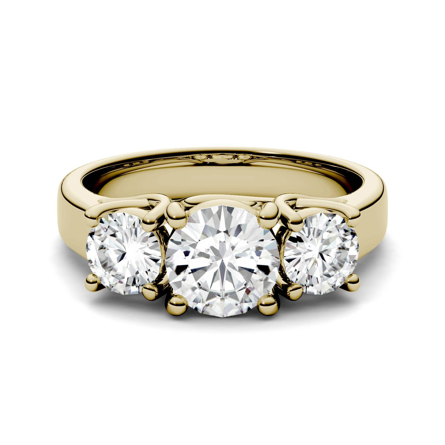 2 Carat TW Charles & Colvard Moissanite Three Stone Ring in Yellow Gold-612281 - Jewelry by Johan