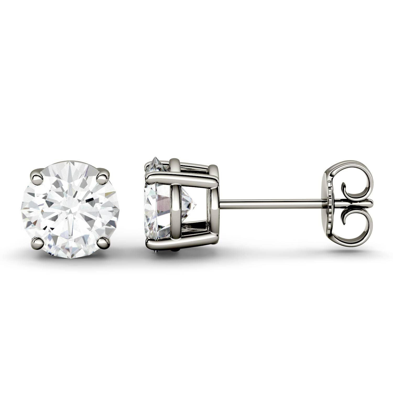 3 Carat TW Charles & Colvard Moissanite Stud Earrings in White Gold-612700 - Jewelry by Johan