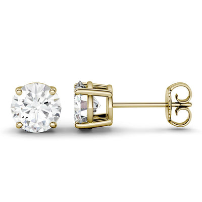 1 Carat Solitaire Moissanite Stud Earrings in Yellow Gold