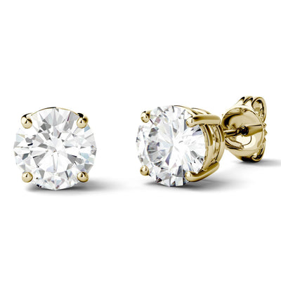 Moissanite Stud Earrings in Yellow Gold