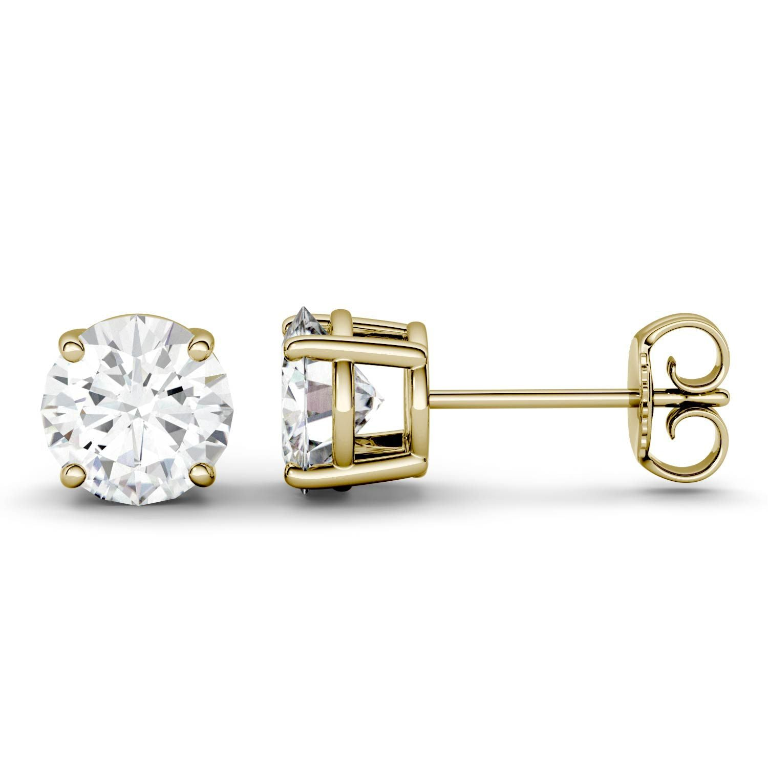 3 Carat TW Charles & Colvard Moissanite Stud Earrings in Yellow Gold-612704 - Jewelry by Johan