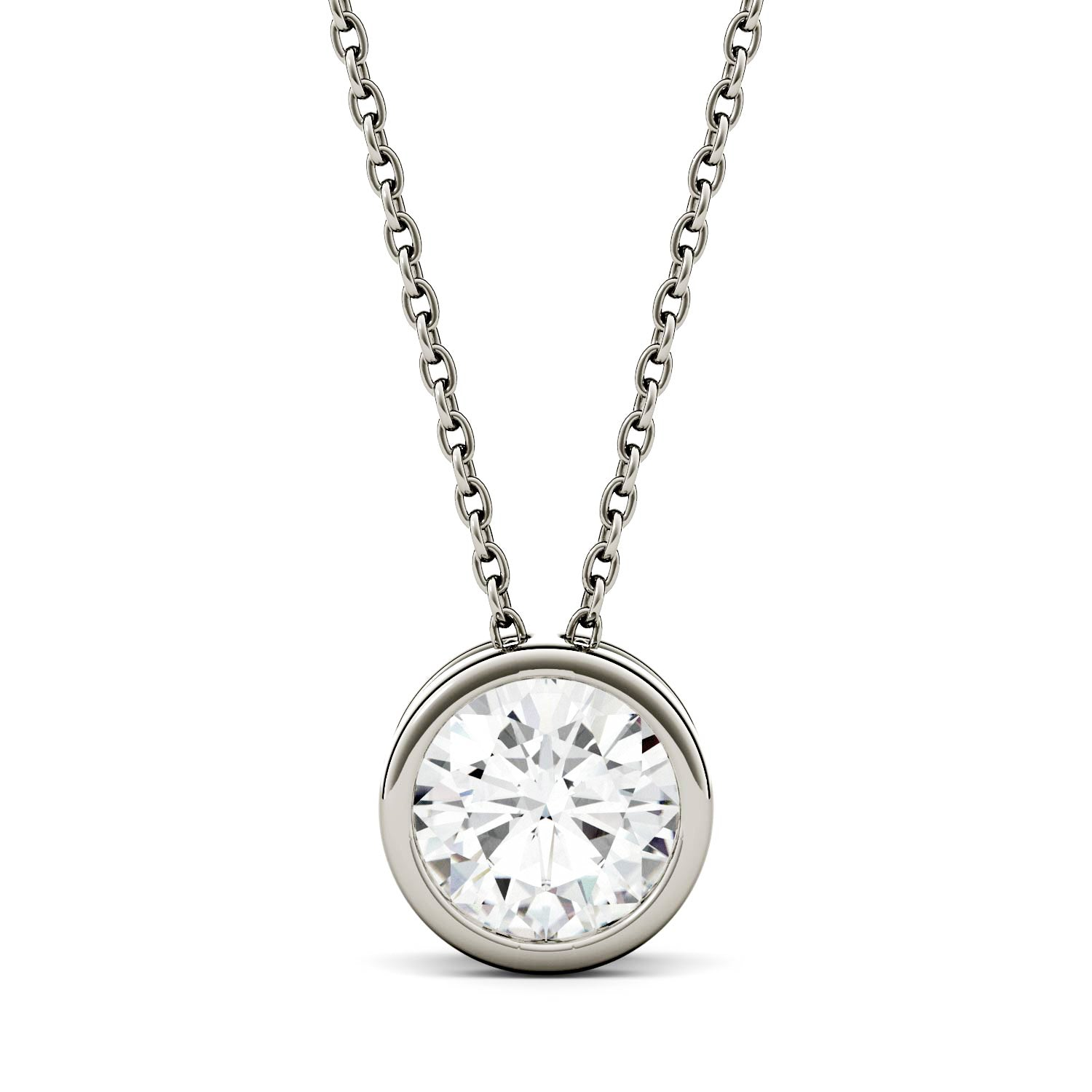 White Gold Moissanite Necklace in Bezel Setting