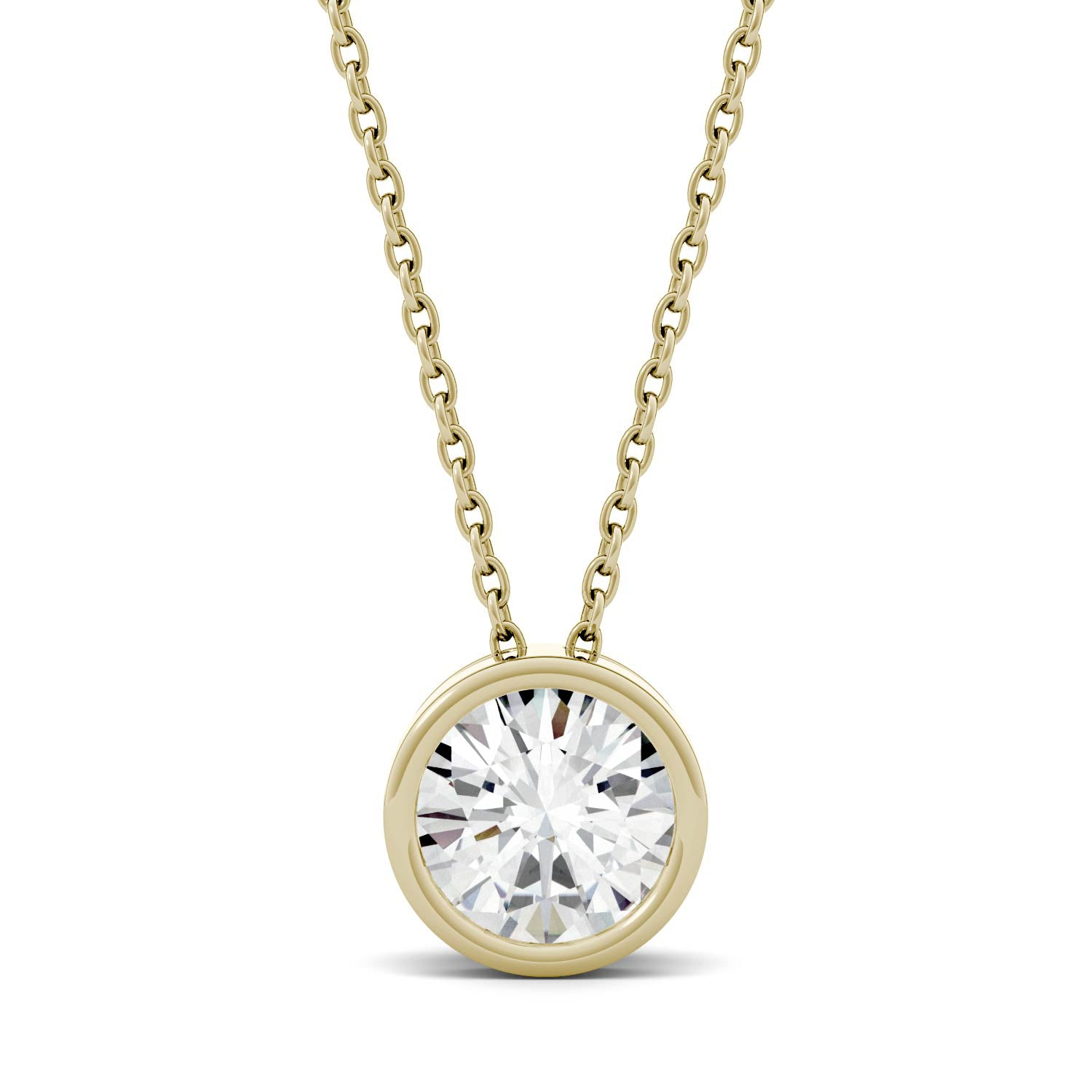 1 Carat TW Charles & Colvard Moissanite Bezel Pendant in Yellow Gold-612720 - Jewelry by Johan