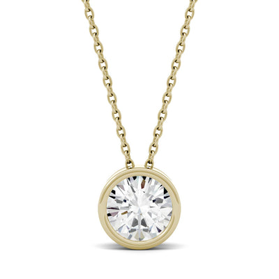 Yellow Gold Bezel Set Moissanite Pendant Necklace