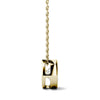 Yellow Gold Bezel Set Moissanite Pendant Necklace Side View