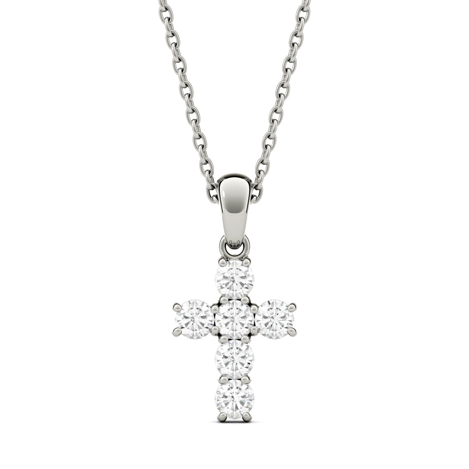 Moissanite Cross Pendant Necklace in White Gold