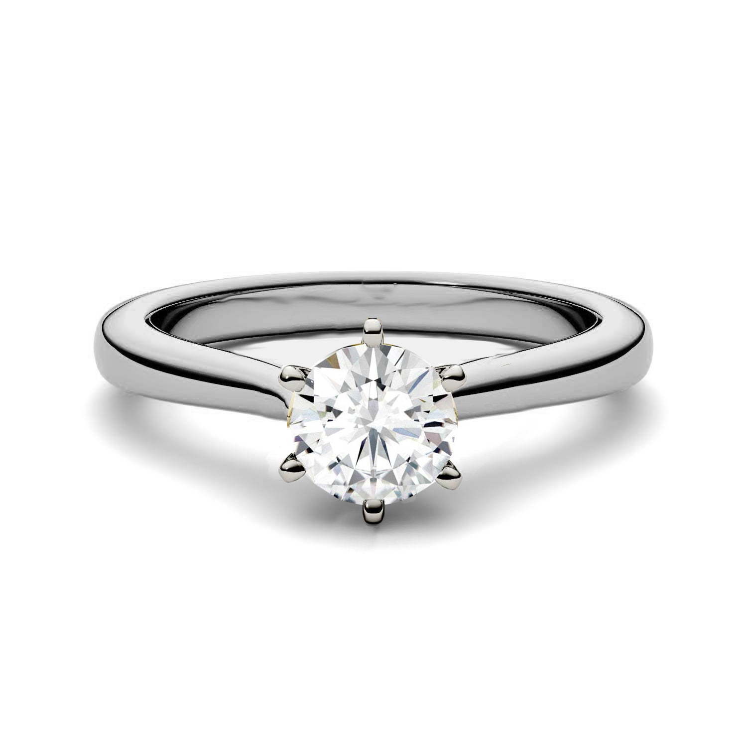 5mm Charles & Colvard Moissanite Solitaire 6-Prong Engagement Ring - Jewelry by Johan