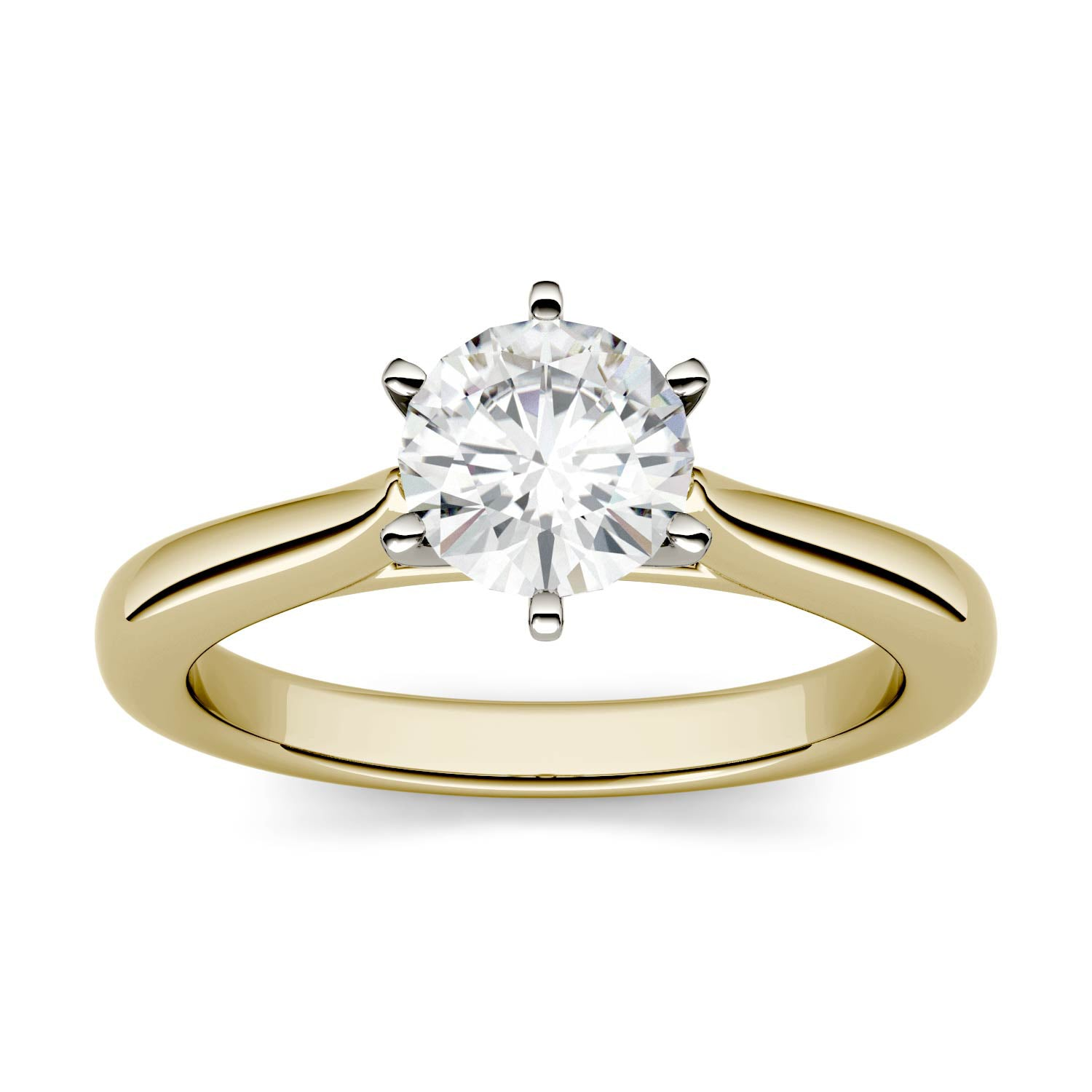 Charles & Colvard Moissanite Solitaire Engagement Ring in Two-tone Gold-612935 - Jewelry by Johan