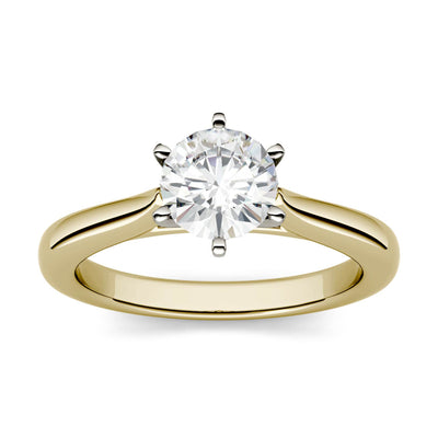Half Carat Yellow Gold 6 Prong Round Cut Solitaire Engagement Ring