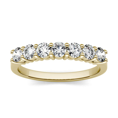 Yellow Gold Seven Stone Round Cut Moissanite Ring