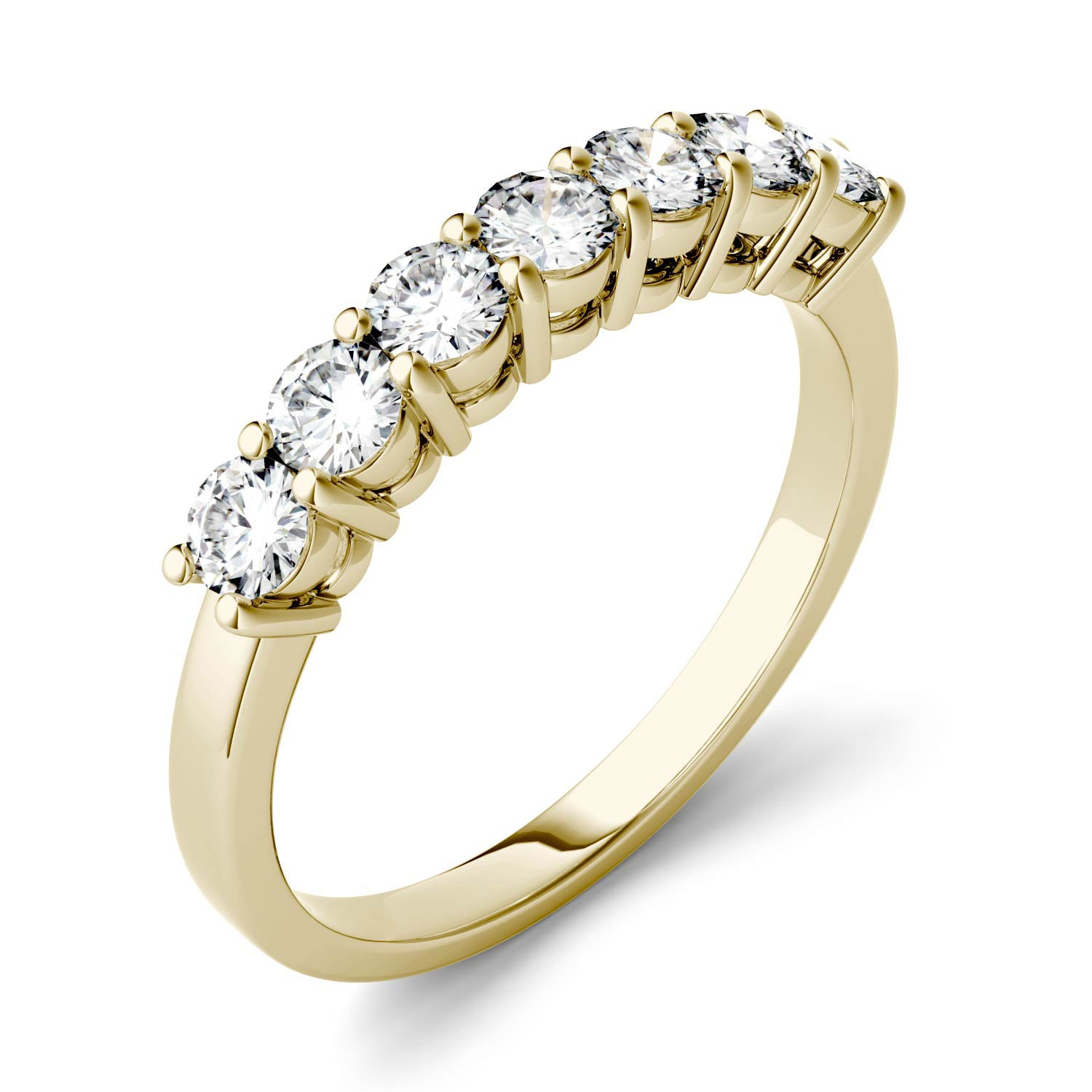 Charles & Colvard Moissanite Seven Stone Gold Ring - Jewelry by Johan
