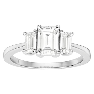 Three Stone White Gold Engagement Ring with Emerald Cut Moissanites
