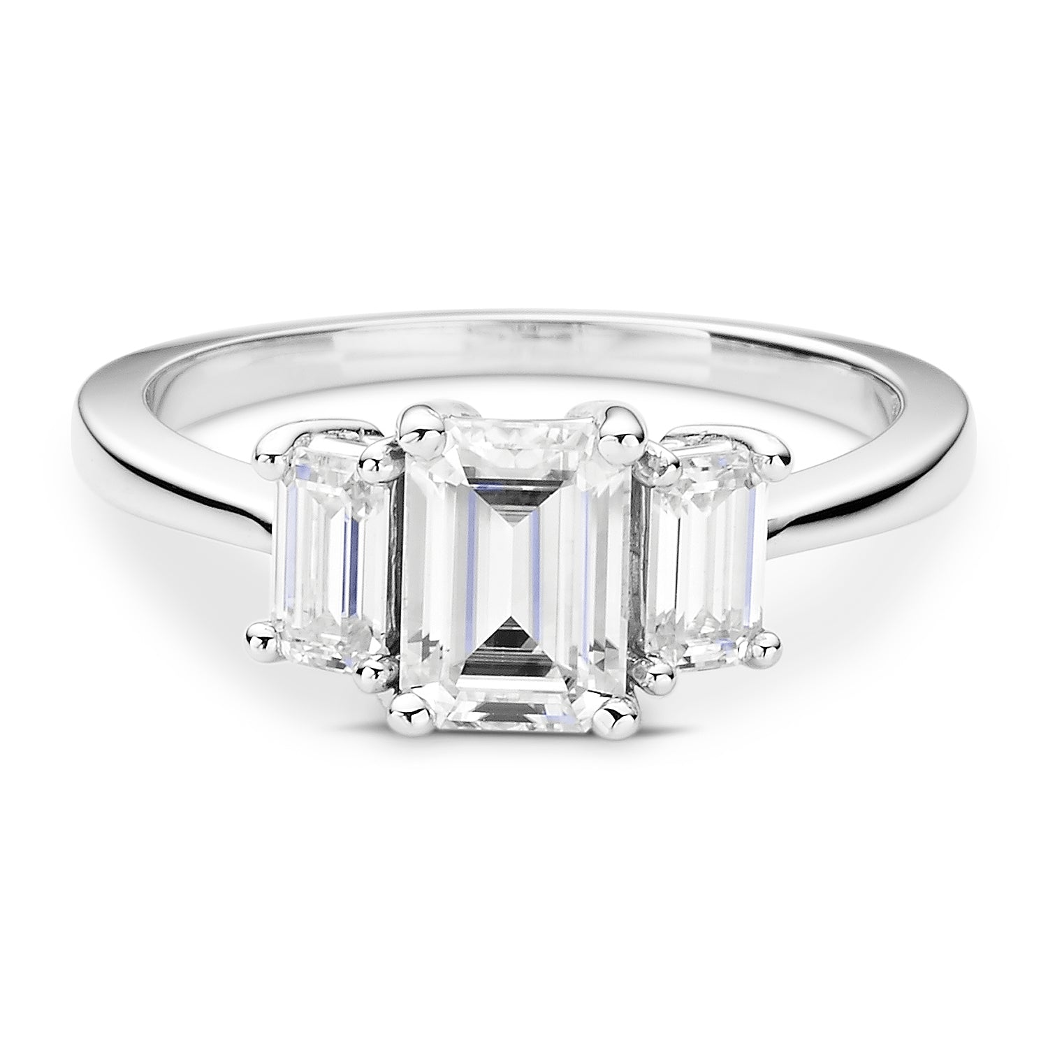 Charles & Colvard Moissanite Emerald Cut Three Stone Ring in White Gold-612941 - Jewelry by Johan
