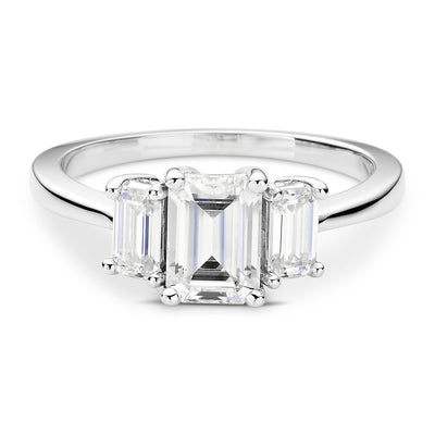Three Stone White Gold Engagement Ring with Emerald Cut