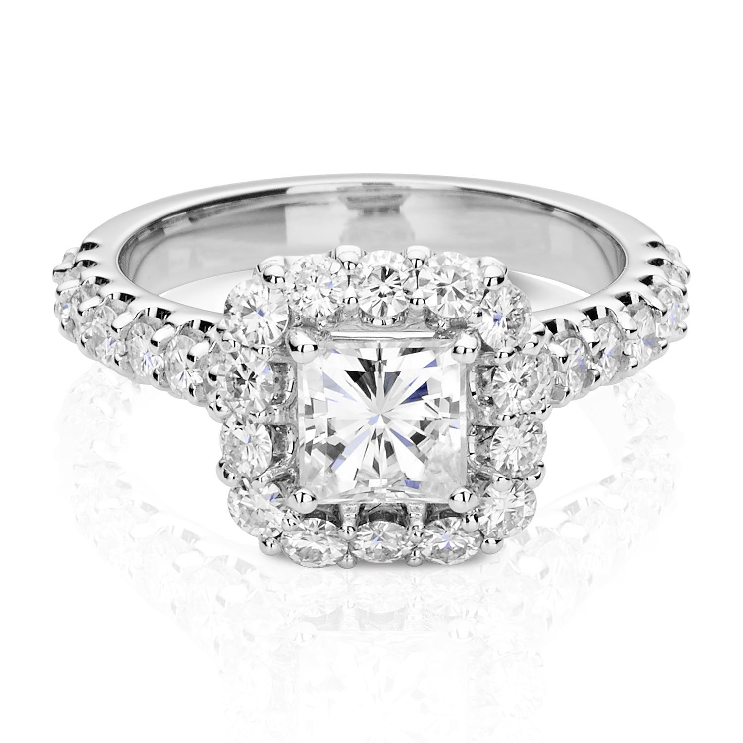 Charles & Colvard Moissanite Square Halo Ring in White Gold-612942 - Jewelry by Johan