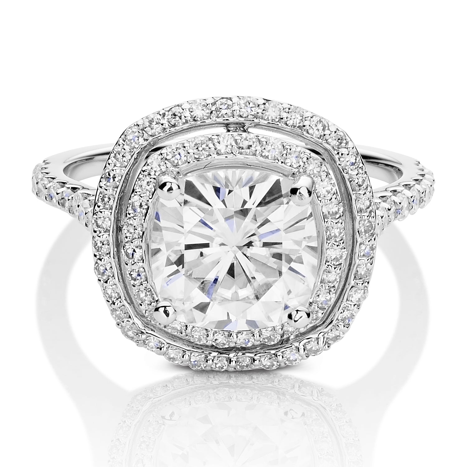 Charles & Colvard Moissanite Cushion Double Halo Ring in White Gold-612947 - Jewelry by Johan
