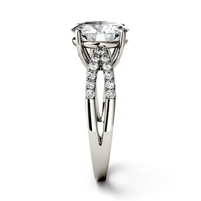 Split Shank Engagement Ring With Stones in Band