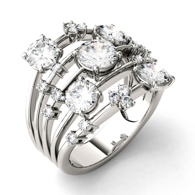 Moissanite Statement Ring in White Gold