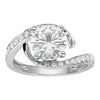 White Gold Bypass Engagement Ring with Moissanite