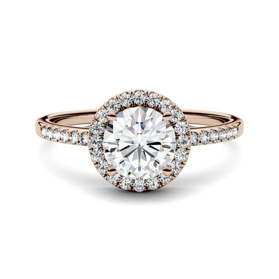 Rose Gold Halo Engagement Ring with Moissanites