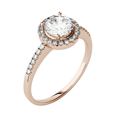 Halo Engagement Ring with Round Cut Moissanites