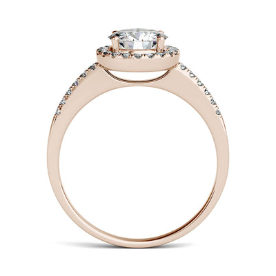 Side View Rose Gold Halo Engagement Ring with Moissanites