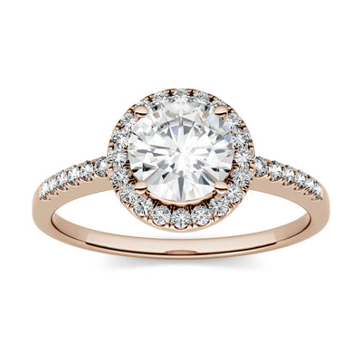 Rose Gold Halo Engagement Ring with Round Cut Moissanites