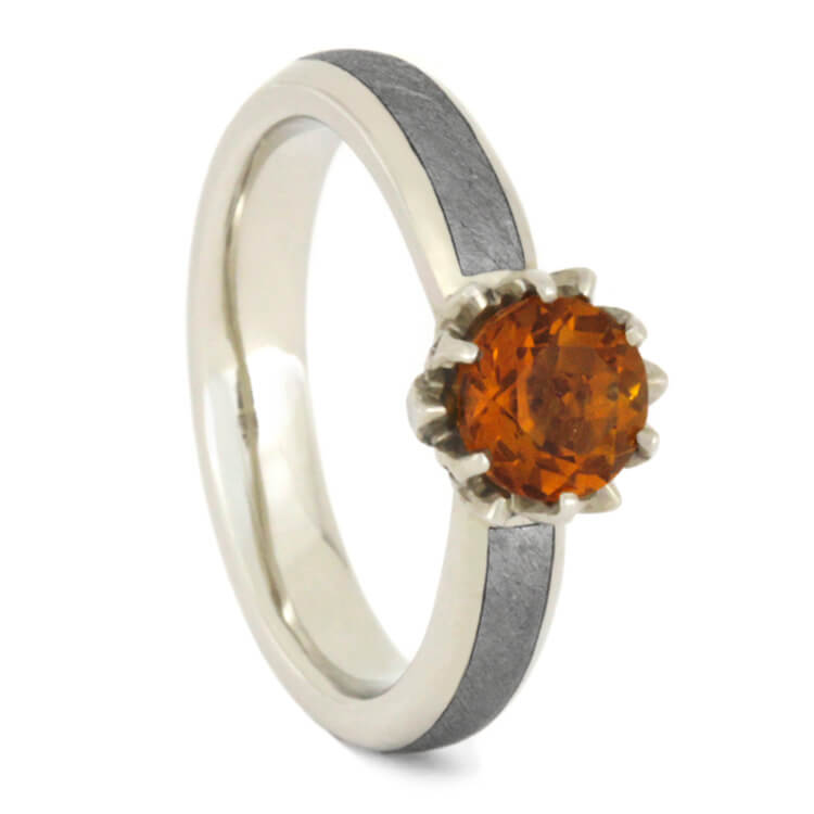 Citrine Engagement Ring, Lotus Flower Meteorite Ring With Diamond Accents