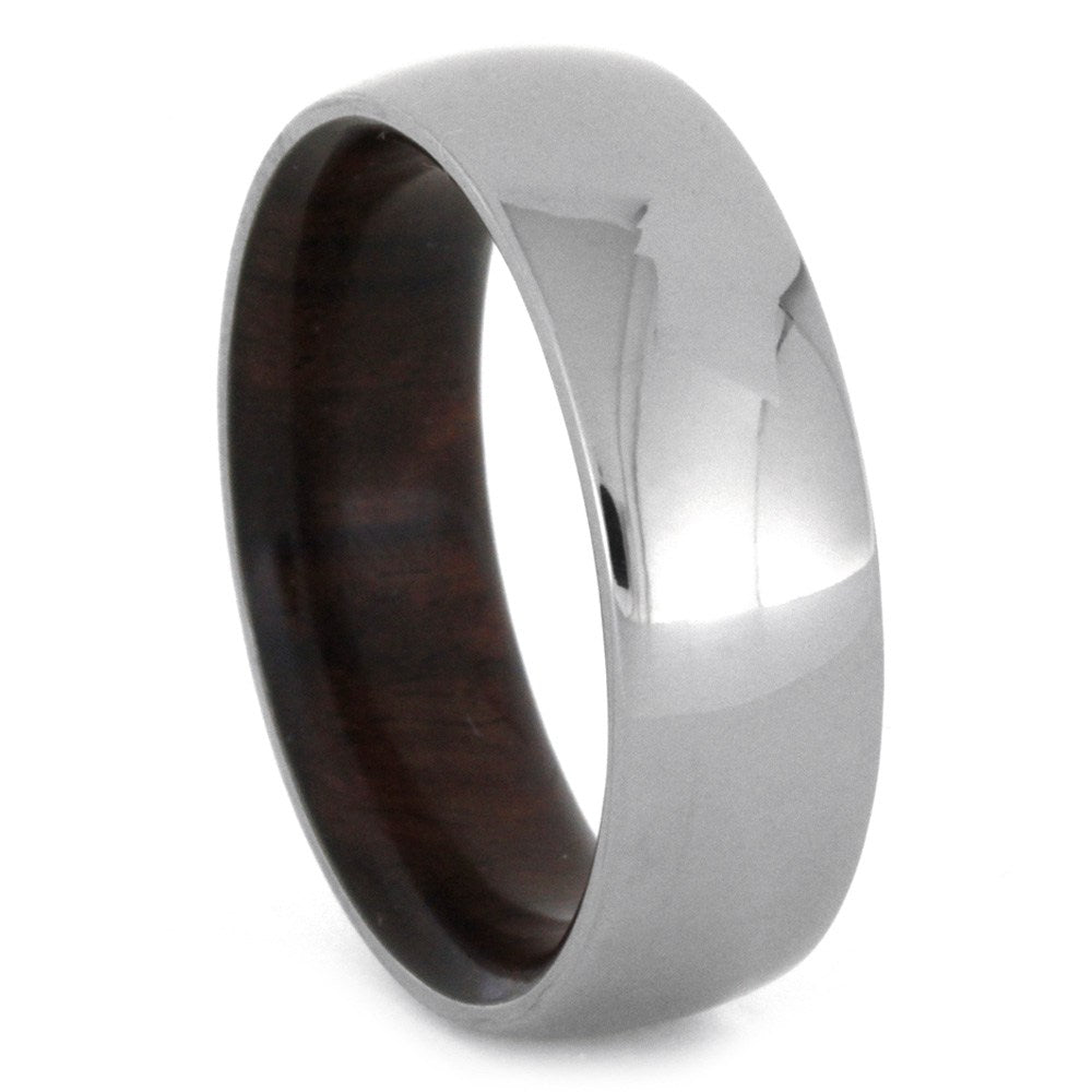 Polished Titanium Men's Band with Ironwood Sleeve, Size 8.5-RS8640 - Jewelry by Johan
