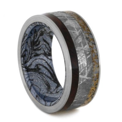 Cobaltium Mokume Ring with Rosewood, Meteorite and Dinosaur Bone