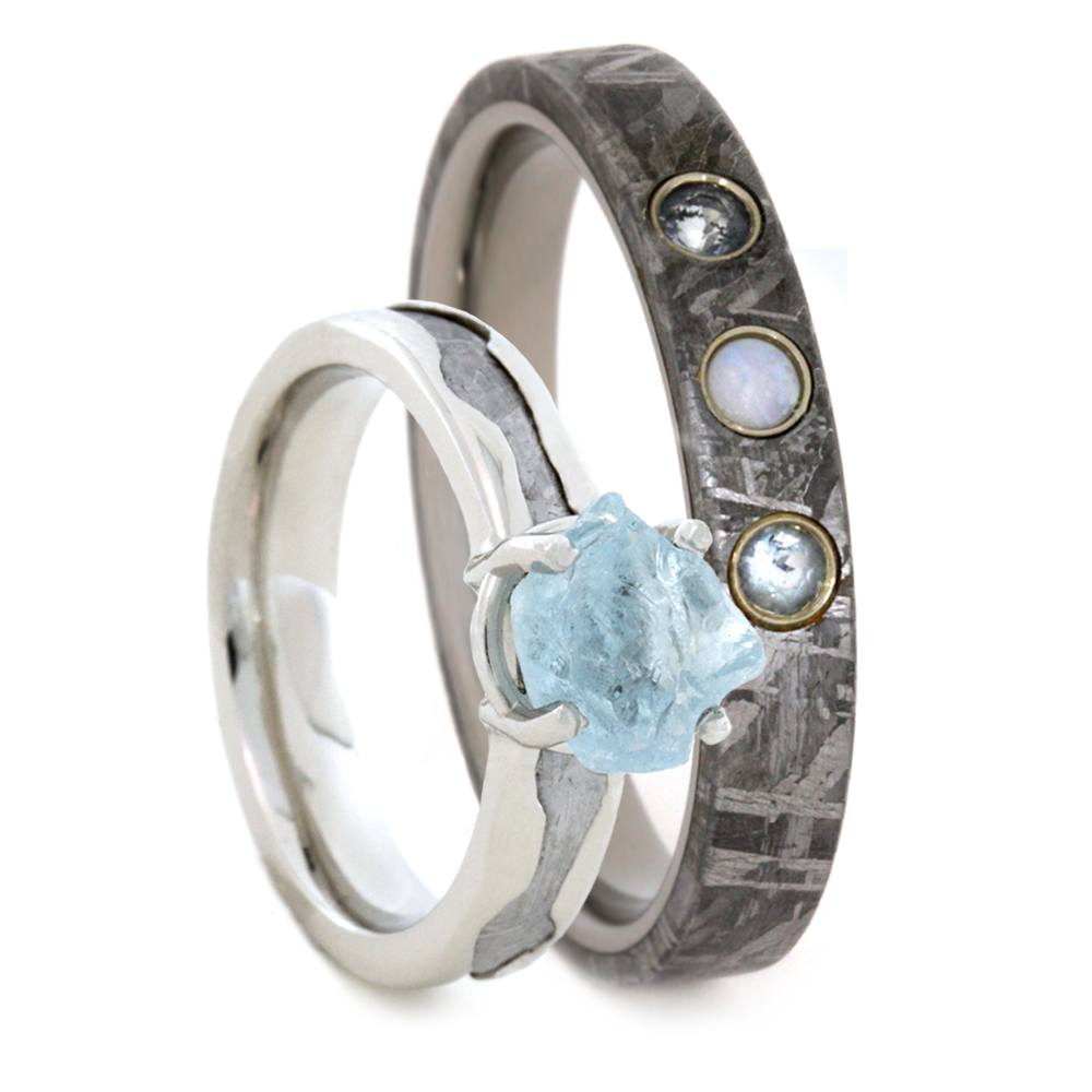 Gemstone Wedding Ring Set, Rough Aquamarine Engagement Ring With Opal Wedding Band-3416