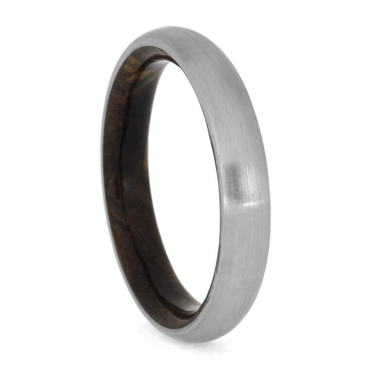 Brushed Titanium Wedding Band With Sindora Wood Sleeve