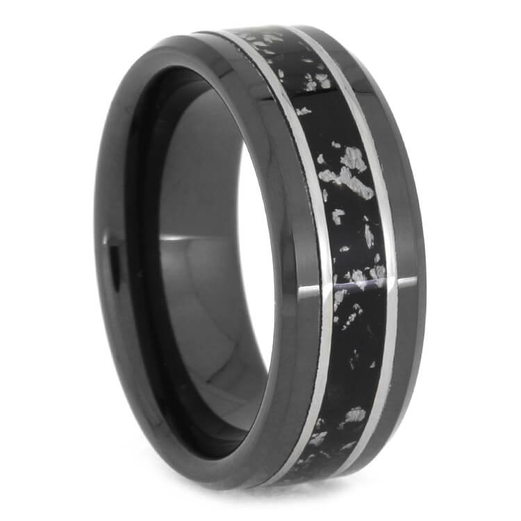 Black Ceramic Stardust Wedding Band With Beveled Edge