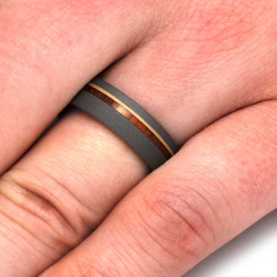 Titanium Wedding Band With Ironwood and 14k Yellow Gold-3166 - Jewelry by Johan