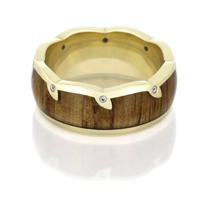 Oak Wood Wedding Band With Wavy Diamond Leaf Eternity Edge, Yellow Gold-DJ1007YG - Jewelry by Johan