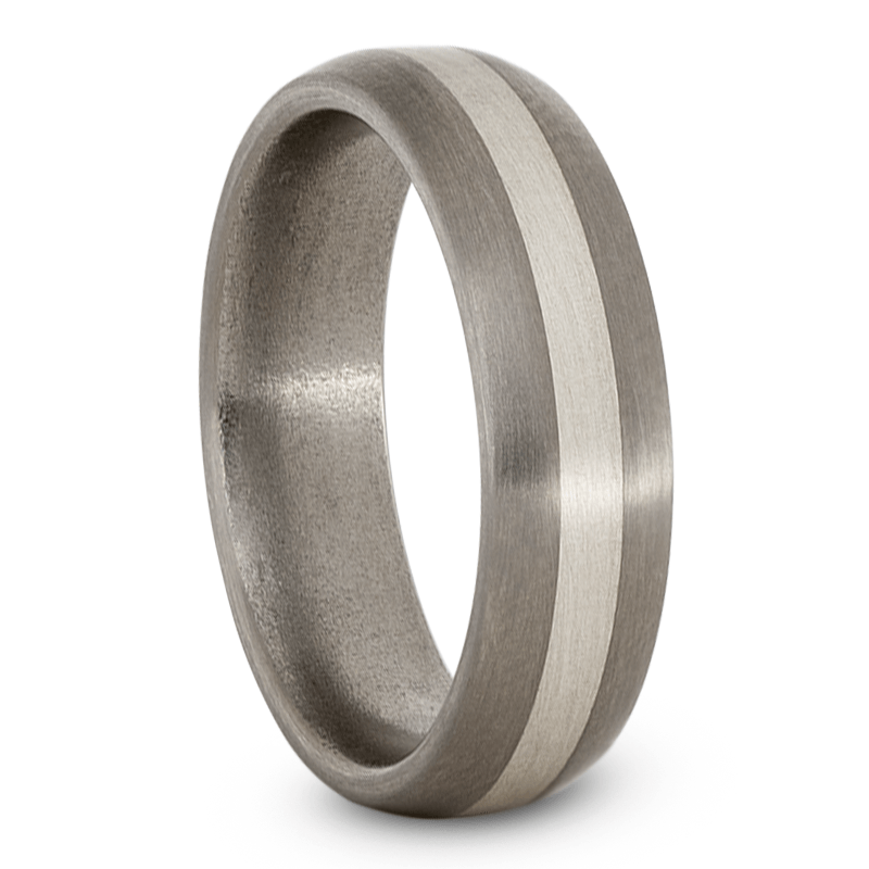 Mens Wedding Band, Titanium Ring with Sterling Silver Inlay-JIRMTA000353 - Jewelry by Johan