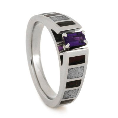 Amethyst Engagement Ring With Meteorite And Dinosaur Bone