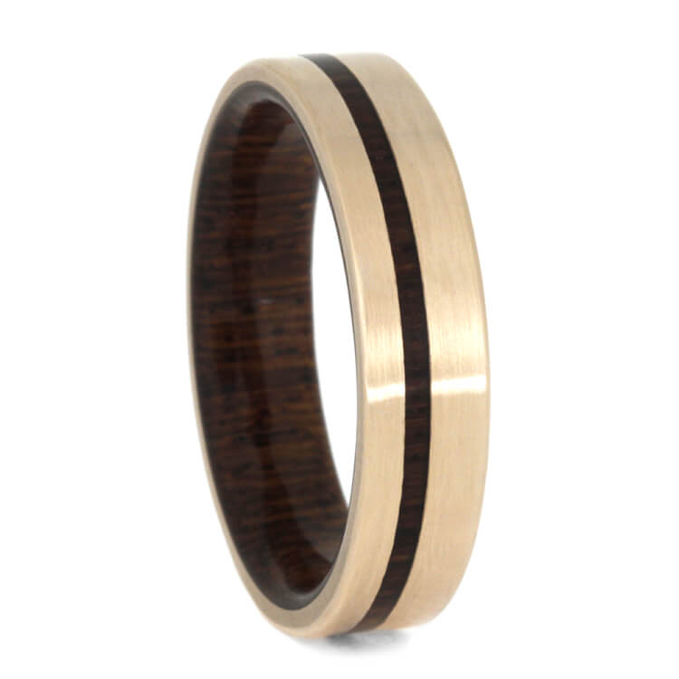 Exotic Wood And Matte Rose Gold Wedding Band, Honduran Rosewood Burl-3593 - Jewelry by Johan