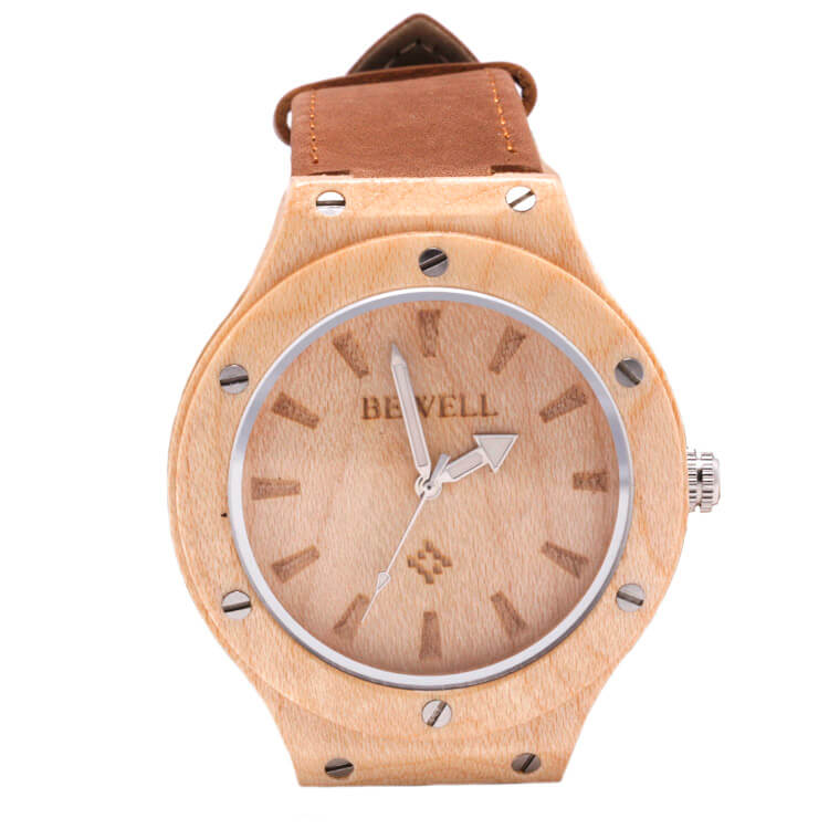 Light Wooden Watch With Brown Leather Strap