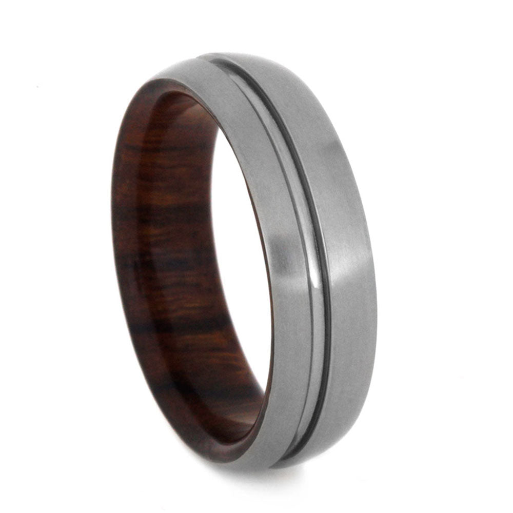 Wood Wedding Band With Ironwood And Titanium Exterior-3128 - Jewelry by Johan