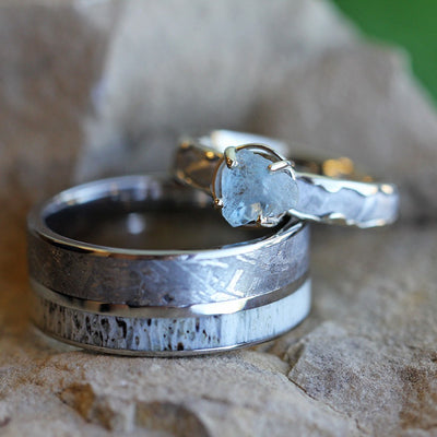 Unique Meteorite Wedding Ring Set with Rough Aquamarine Engagement Ring-3321 - Jewelry by Johan