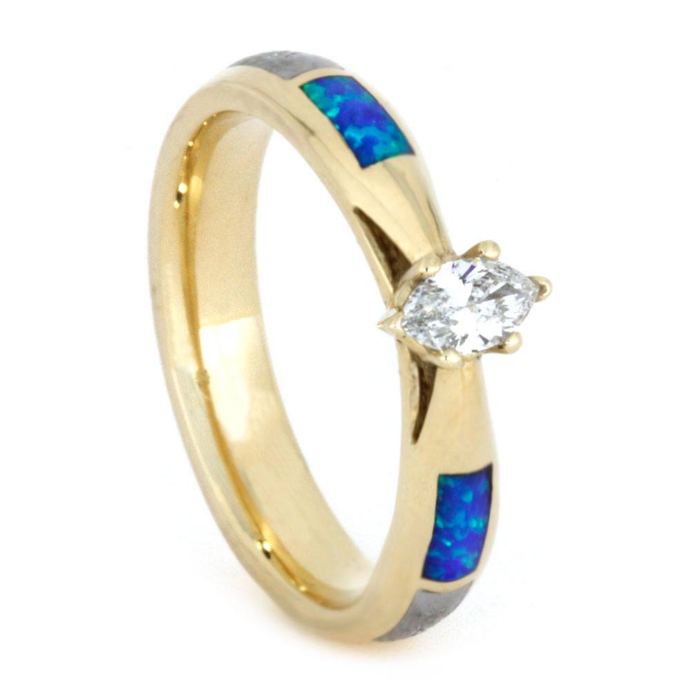 Marquise Diamond Engagement Ring, Yellow Gold Ring with Opal and Meteorite