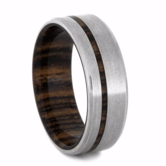 White Gold Wedding Band With Bocote Wood Sleeve-2245 - Jewelry by Johan