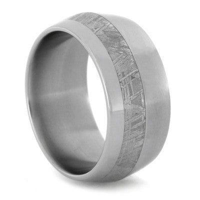 Mens Wedding Band Meteorite Ring with Titanium Knife Edge Profile